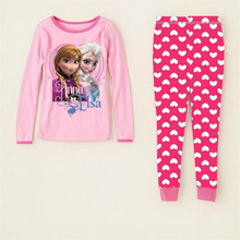 2-7 Years Fashion Cartoon Kids Pajama Snow Queen Anna Elsa Baby Girls Sleepwear Clothing Sets Long Sleeve Pijama Fille Enfant