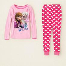 2-7 Years Fashion Cartoon Kids Pajama Snow Queen Anna Elsa Baby Girls Sleepwear Clothing Sets Long Sleeve Pijama Fille Enfant