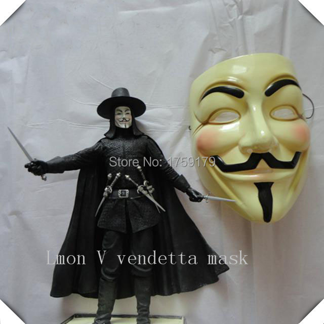 Hot Selling V for VENDETTA Halloween Cosplay MASK Costume Guy Fawkes Anonymous mask for women and men party masks(China (Mainland))