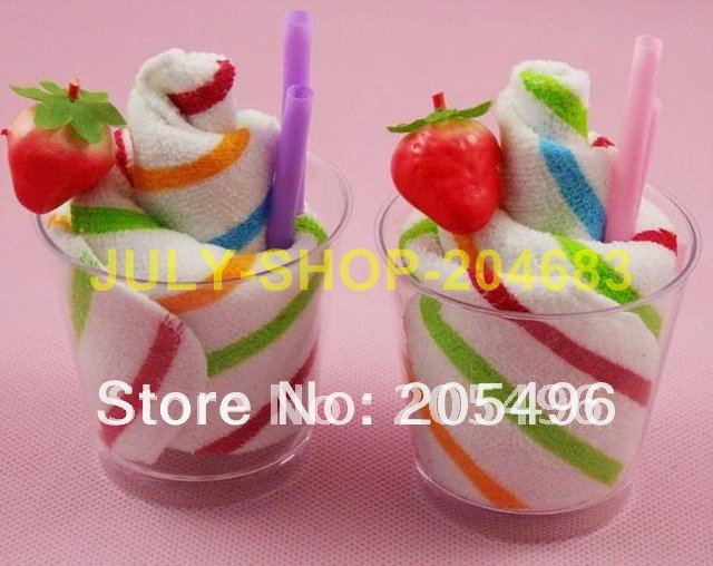 35% off Discount!!! icecream baby towel cake cup Cake towels birthday wedding favors gifts(China (Mainland))