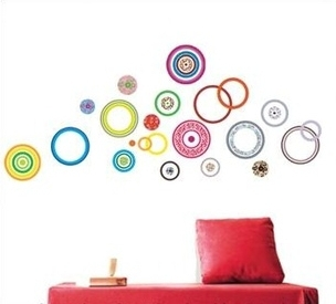 New design Geometric Pattern Wall Sticker Colorful Circles Wall Paper Home decoration Wall decal for Living Room Free Shipping(China (Mainland))