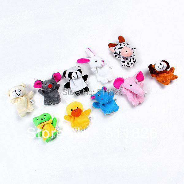 10pcs/lot Velvet Finger Puppet for Kids Cute Children Small Mini Cloth Animal Design Set Play Learn Story Toy