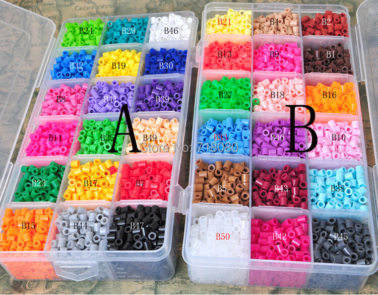 Wholesale New Perler Beads 5mm 18 colors 5400 pcs with Storage Box DIY gift hama beads craft kids toys 1set/lot free shipping(China (Mainland))
