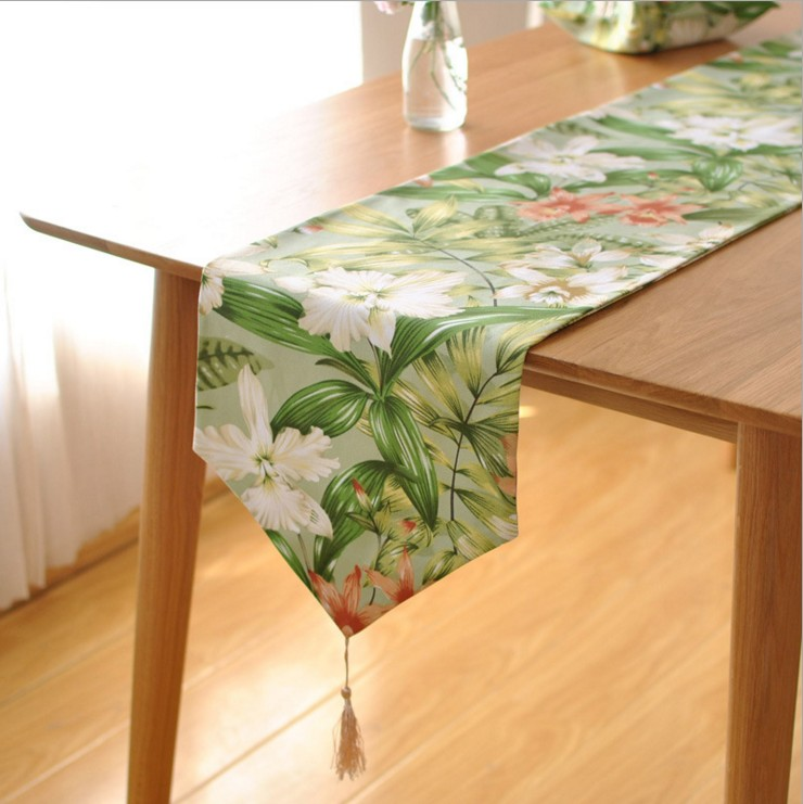 Spring And Summer Tropical Rainforests Style Printing Floral Table Runner Wedding Party Home Table Decoration Cloth8002ZQ(China (Mainland))