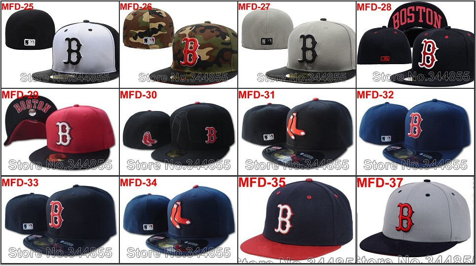 20 Styles Boston Red Sox Letter B Logo Baseball Fitted Hats Men's,Sport Flat Full Closed Caps Women's Free Shipping(China (Mainland))