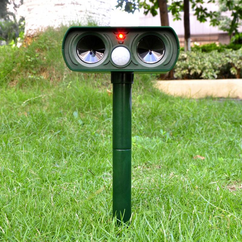 Green Garden Cat Dog Pest Repeller Solar Power Ultra Sonic Scarer Frighten Animal Repellent Outdoor Use(China (Mainland))