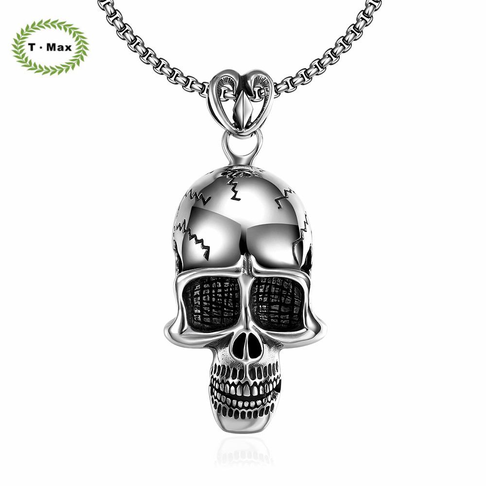 Witcher Stainless Steel Europe Gothic Rock steampunk Style chain Vintage Accessories Skull shape Pendant Necklace HFNE0016(China (Mainland))