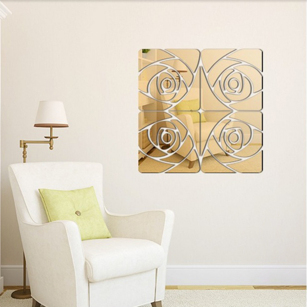 Fashion Diy Rose Mirror Wall Stick Decor Living Room