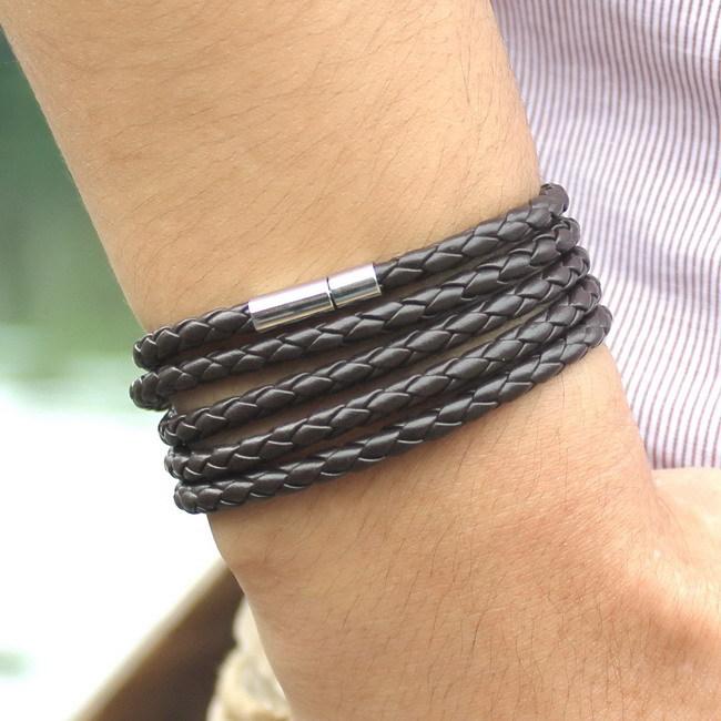 2015 Hot Sale New Stylish Coffee Punk Bracelet Men Leather Bracelet For Christmas New Year 10
