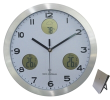 new modern high quality LCD display metal multifunction wall clock with indoor and outdoor temperature weather station clock(China (Mainland))
