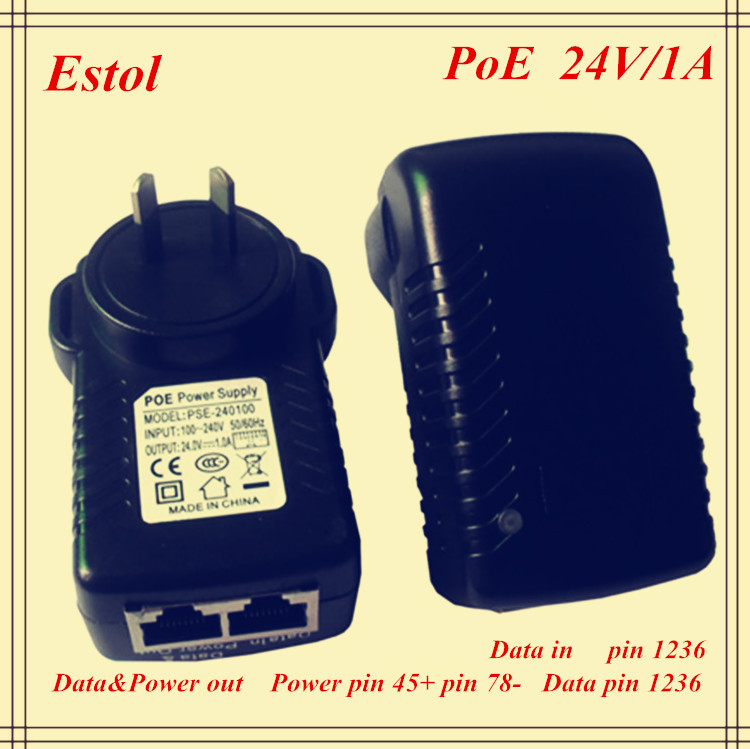 Australia AUS DC 24V PoE Power Adapter 1A 10/100Mbps PoE Injector Power Over Ethernet,IEEE802.3af power plug,poe switch(China (Mainland))