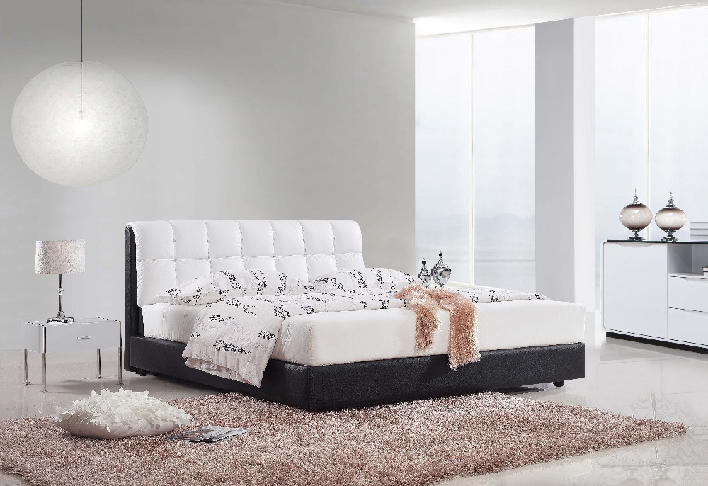 Promotion bed modern soft double bed fashion genuine leather soft modern bed home furniture BL8826(China (Mainland))