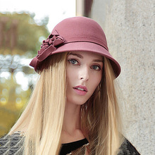 Women Basin Felt Hat Solid Big Flower Decoration Casual Formal Hat Sun-shading For Ladies Outdoor