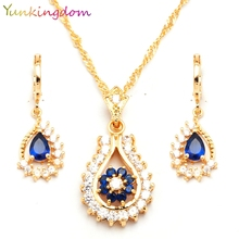 Yunkingdm Trendy Blue Tanzanite Sapphire Jewelry Sets For Women Engagement 18k gold filled necklaces & pendants Earrings BB0150(China (Mainland))