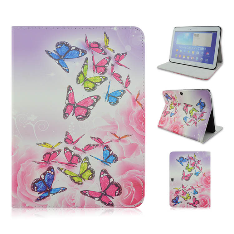 """For Tab 4 10.1"""" Durable Stand Folio PU Leather Tablet PC Cover Case For Samsung Galaxy Tab 4 T530 Pretty Butterfly Pilgrimage(China (Mainland))"""