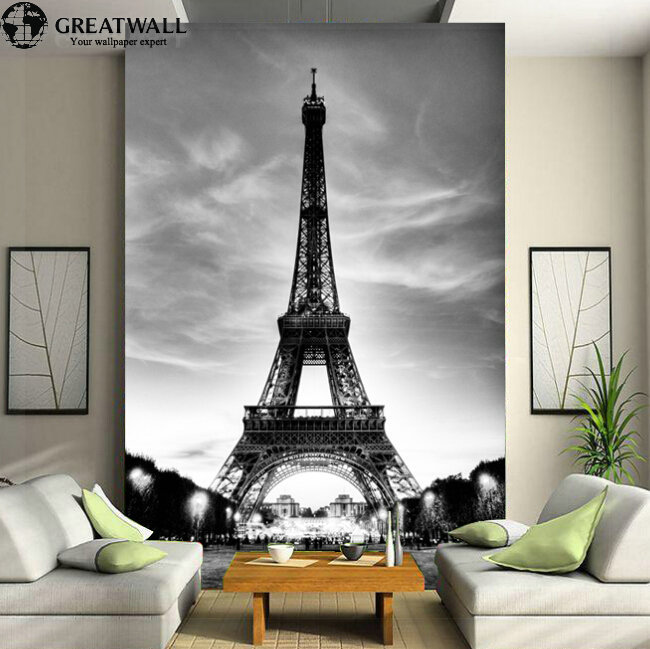Great wall 3d european architecture eiffel tower large for Eiffel tower wall mural black and white