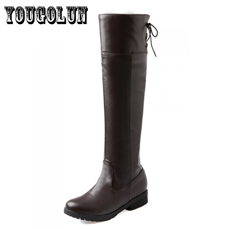 soft PU leather Black/White/Brown solid square thick women riding over knee boots,2014 new winter fashion ladies shoes<br><br>Aliexpress