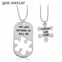 """Buy QIHE JEWELRY """"The Love Us Will Forever Ever""""Silver Pendant Puzzle Tag Necklace Lover's Men Women keepsake Gift for $1.59 in AliExpress store"""
