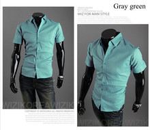 Hot Sales!!!Free Shipping 2013 New fashion Men's casual short sleeve shirt male,slim fit stylish shirt ,  size M-XXXL   6537(China (Mainland))