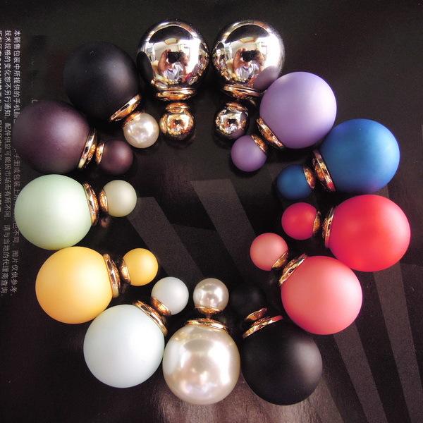 2014 hot sale X'mas gift super fashion elegant popular simulated pearl beads women's wedding statement stud earrings 9colors(China (Mainland))