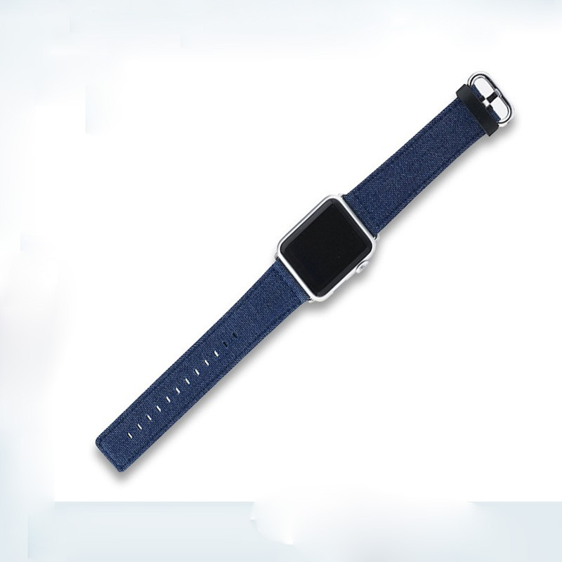 Специальная Конструкция Синий Ковбой Холст Кожа Correas Браслет Apple Watch Ремешок 42 мм 38 мм Для Iwatch С Adpter Контейнер