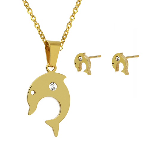 316L stainless steel pendant Dolphin pendant necklaces for women, 18k real gold vacuum plated jewelry sets 2 years warranty(China (Mainland))