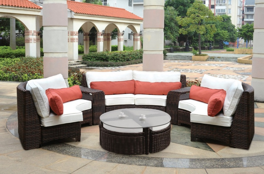 2016 Modern Outdoor furniture Resin Wicker Curved Sectional garden sofa Set - 6 Piece(China (Mainland))