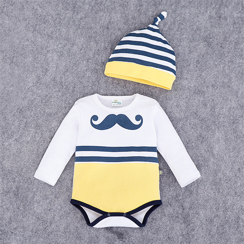 2016 Autumn Winter 2-Piece Set Boy Girl Cute Printed Jumpsuits Baby Hat Clothes Infantil Romper Newborn Coveralls Next Rompers(China (Mainland))