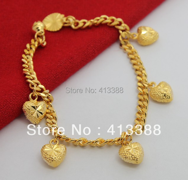 BR1181 New arrivals 4.5mm Figaro Chain Six Gold Heart Bracelet Jewelry Fashion Sell Like Hot Cakes Bracelets(China (Mainland))