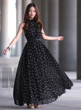 Polka Dots Long Maxi Chiffon Dress