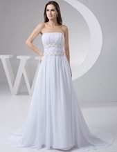 Don's Bridal 2016 New Arrival Long White Sleeveless Floor-Length Strapless Court Train with Beaded Prom Dress