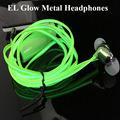 EL Glow in the Dark Metal Earphones 3 5mm Stereo Bass Earphone With MIC Rechangeable EL
