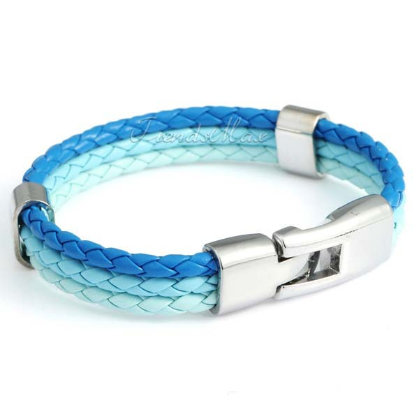 2014 World Cup National Flags Sports 3 Strands Rope Braided Surfer Leather Bracelets Mens Bracelets 8inch