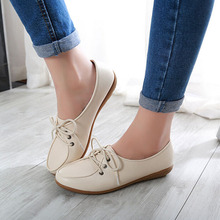 Plus Size New 2016 Women Pu Leather Flats Shoes Mother Maternity Work Shoes Autumn Lace Up Ballet Flats Loafers Moccasins