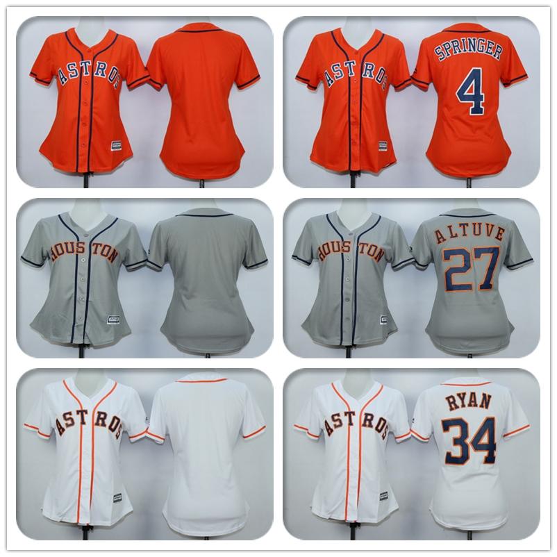 Womens #4 George Springer #27 Jose Altuve #34 Nolan Ryan Jersey Color Gray White Orange Jerseys(China (Mainland))