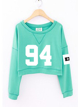 2015 fashion women's exo spring autumn number printed cropped sweatshirts kpop short hoodies mint green white sudadera mujer(China (Mainland))