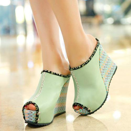Fashion 2015 High Wedges Summer Sandals Elegant Sexy Platform Women Summer Sandals Vintage Open Toe Summer Slides Women Shoes(China (Mainland))