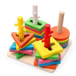 2014 New Kids Gift Educational Game Blocks 5 Pillar Matching Color Shape Wooden Block Toy(China (Mainland))