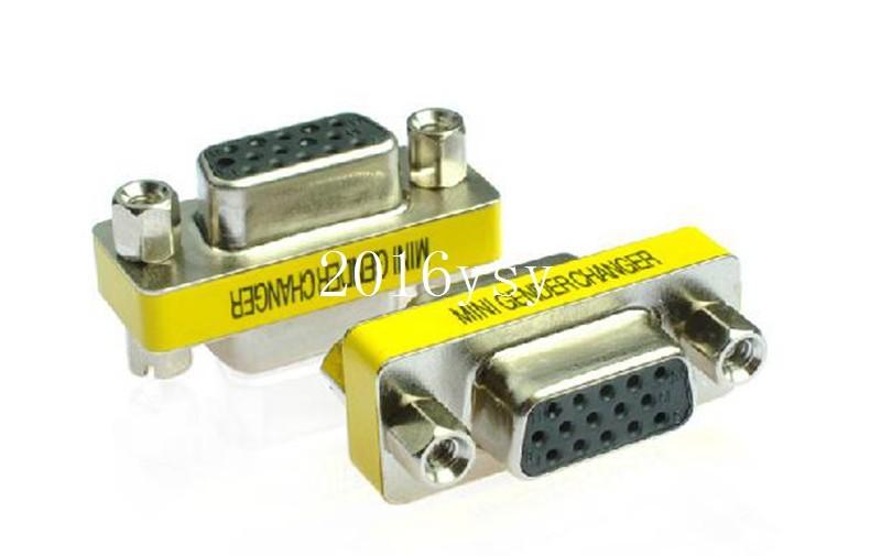 200pcs / lots VGA HD15 Female to Female Mini Gender Changer Adapter(China (Mainland))