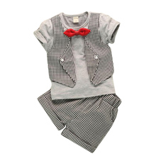Hot selling baby boys clothing set bebe clothes suit t-shirt top+plaid short pants ropa de bebe newborn baby costume baby suit