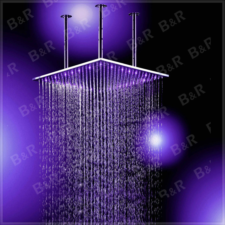 Romantic Square Color LED Shower Head Glow Lights Shower Head Set Home Water Bathroom Shower Sets with Arm LED202000A water save(China (Mainland))