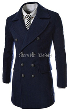 Custom Made Dark Blue Black Double Breasted Trench Coat Men, Winter Overcoat Men Long Coat, Cashmere Wool Coat Winter Coat(China (Mainland))