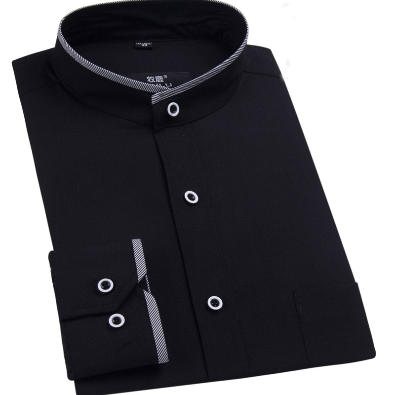 Mandarin collar men shirt long sleeve fashion mens dress for Mens high collar dress shirts