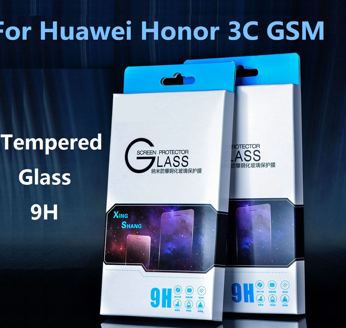 Luxury New 0.3mm screen protector for Huawei Honor 3C GSM Film Tempered Glass Toughened Membrane factory price(China (Mainland))