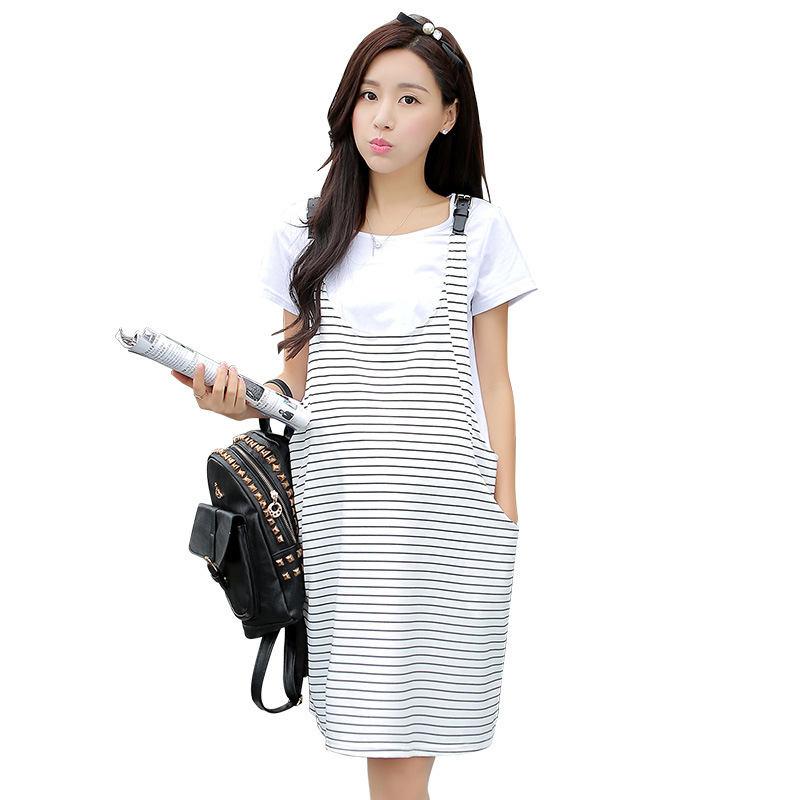 2016 New Summer Maternity Dresses Stripe Dresses And T