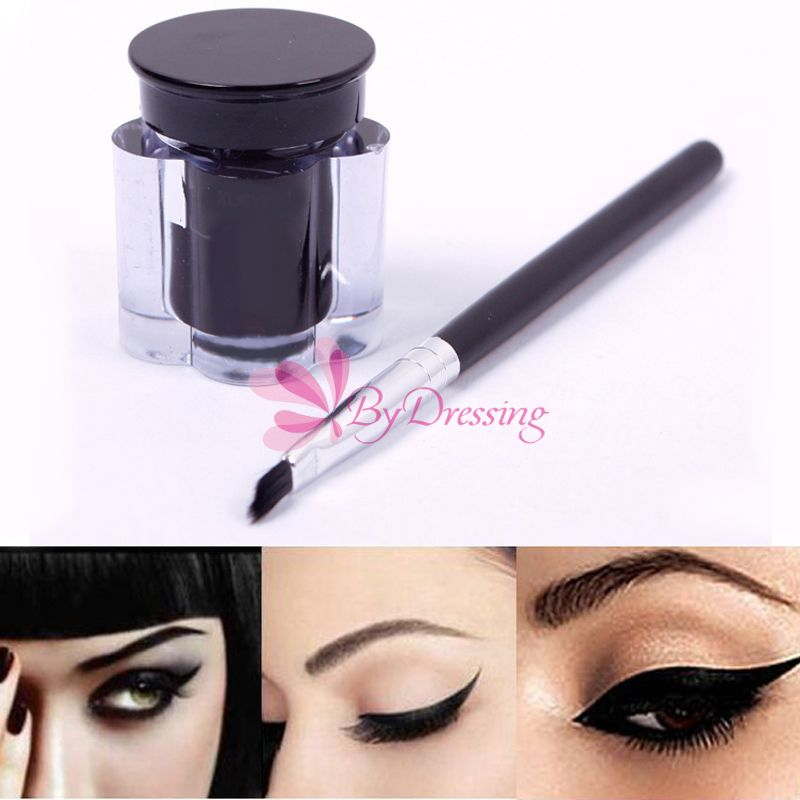 Pro Black Strong Waterproof Eye Liner Eyeliner Gel Makeup Cream Cosmetic Brush 57444