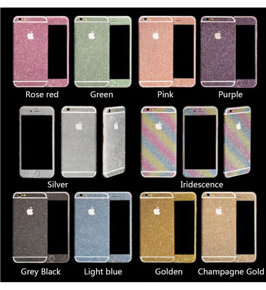 Stickers For iPhone 6 6s Bling Crystal Full Body Decal Skin Glitter Protective Skin Sticker Wrap Phone Case Cover # C1168(China (Mainland))