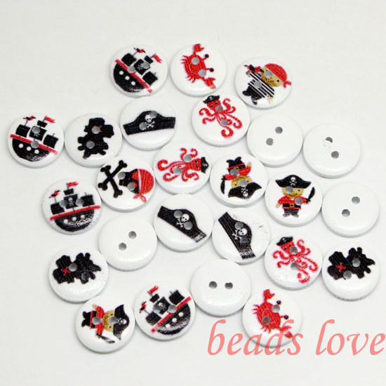 """5Mixed 2 Holes """"pirates"""" Cartoon Wood Sewing Buttons Scrapbooking 15mm Knopf Bouton(w02836) - monstar store"""