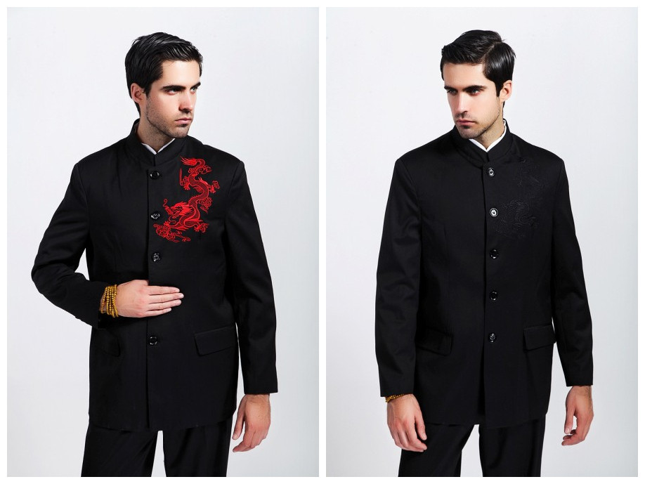 Free Shipping ! Black Fashion Chinese Style Mens Cotton Kung-Fu Jacket Coat embroider Dragon M L XL XXL XXXL 2351Одежда и ак�е��уары<br><br><br>Aliexpress