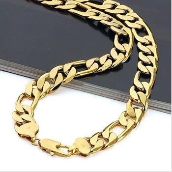 Fashion Jewelry Necklace,12mm 600mm Beach Men 18K Yellow Gold Filled Chain Necklace,Gold Necklace Jewellry ,18K Gold Necklace
